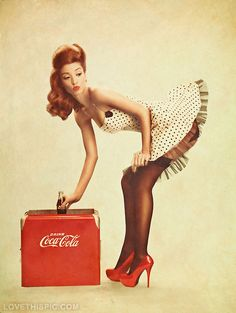 Vintage Coke Cola Pinup Girl sexy vintage pinup coke forties 40s ad advertisement coke cola