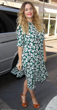 Boho queen: Drew Barrymore looked chic on Thursday as she stepped out in London