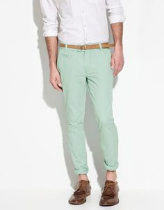 Sea Green Cotton Trousers, Zara