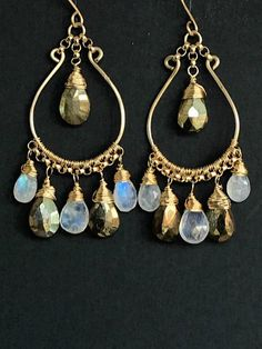 Rainbow Moonstone Gold Hoop Earring Gold Labradorite Chandelier Earring White Gemstone Chandelier Earring Bridal Earring Bohemian Jewelry Faceted pear shape, blue flash rainbow moonstone briolettes and mystic golden labradorite briolettes are wire wrapped in 14kt gold filled wire