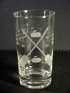 Clear Glass Water Tumbler With Etched Design Game of Curling with Stone & Brooms