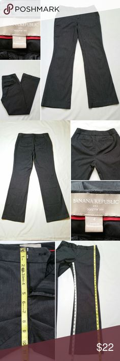 "Banana Republic Women Dress Pants Martin Fit Condition: Gently used.  Some wear at the bottom of both leg openings, not noticeable when worn (see last photo). Size: 4  Color: Dark Gray Style: Dress Pants Style #: Martin Fit - 925231 Pockets: 2 side pockets & 2 back pockets Material: 97% Cotton, 3% Spandex Other Details: Zipper with hook & eye closure Care: Machine Wash  Approx. measurements (laying flat)  Waist: 14.5"" Front Rise: 8.25"" Inseam inner crotch to ankle: 29.5""  SKU 0348/15 Banana…"