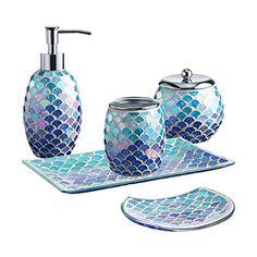 Bathroom Accessories Sets, Bathroom Sets, Glass Bathroom, Bathrooms, Vanity Decor, Vanity Tray, Mermaid Glass, Mermaid Art, Bathroom Gadgets