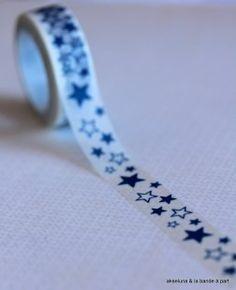 Masking tape étoilé (bleu/blanc) 15mm x 10m  : Masking tape par akseluna