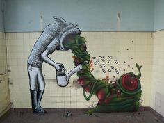 These are remarkable graffiti pictures by Phlegm , a successful cartoon graffiti artist based in Sheffield in the UK. Beautiful Graffiti, Ephemeral Art, Graffiti Pictures, Graffiti Cartoons, Graffiti Tagging, Amazing Street Art, Wall Drawing, Street Art Graffiti, Street Artists