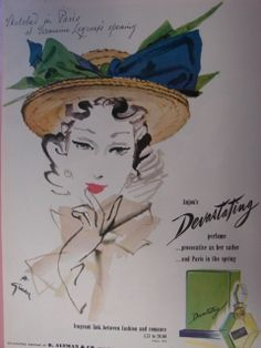 Devastating perfume vintage ad with art by  Rene Gruau