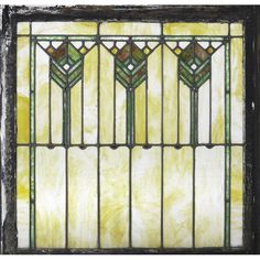 PRAIRIE SCHOOL Leaded glass window