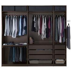 Ikea black PAX wardrobe, 98 x 22 for walk-in closet in plum & black bedroom Walk In Closet Ikea, Walk In Wardrobe, Bedroom Wardrobe, Black Wardrobe, Ikea Wardrobe, Wardrobe Storage, Dressing Pax, Pax Planer