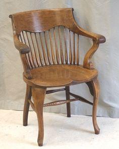 Antique Oak Desk Chair with Swivel Tilt wwwswoonantiquesetsycom