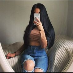 Brazilian Straight Human Hair Wigs Adjustable Pre Plucked top lace Closure HumanHair Wigs 100 Unprocessed Remy Hair For Black Women Weave Hairstyles, Pretty Hairstyles, Straight Hairstyles, Long Black Hair, Dark Hair, Mode Poster, Natural Hair Styles, Long Hair Styles, Hair Laid