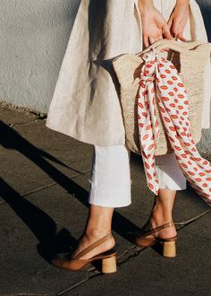 scarf and straw tote   @andwhatelse