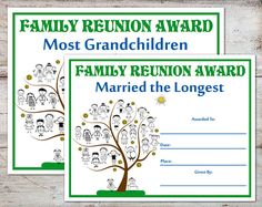 Family Reunion Awards, Family Reunion Certificates, Family Reunion, Family Parties, Family Awards, Certificates, INSTANT DOWNLOAD by toadallydigital on Etsy