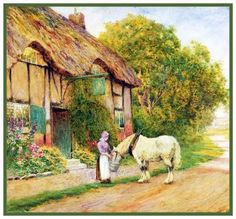 Feeding A Horse At English Country Cottage Strachan Counted Cross Stitch Pattern