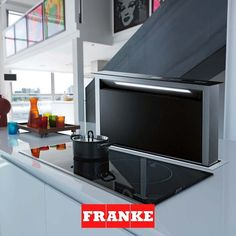 Looking for Franke Downdraft Extractor - BLACK? Downdraft Extractor, Extractor Hood, Extractor Fans, Kitchen Stove, Kitchen Taps, New Kitchen, Blue Background Wallpapers, Black Appliances, Kitchen Trends