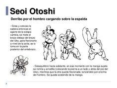 Seoi Otoshi Derribo por el hombro cargando sobre la espalda - Desequilibrio hacia adelante, en ese momento con la manga su...