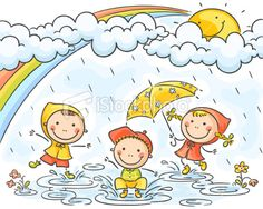 Kids in the rain Royalty Free Stock Vector Art Illustration