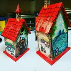 Birdhouse completed for my sister in law in 2016 with penguins in various U.Michigan settings including the Mackinac Bridge and their farmhouse in Germfask Painted Boxes, Hand Painted, Mackinac Bridge, My Sister In Law, Birdhouses, Wood Boxes, Penguins, Gingerbread, Michigan