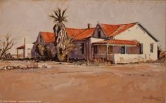 Karoo Farmhouse, Leeu-Gamka by Capelight, Landscape Art, Landscape Paintings, Windmill Art, African Paintings, Cottage Art, South African Artists, Old Farm Houses, Country Art, Pictures To Paint