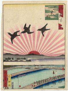 浪花百景 三大橋 - 旭日旗 大阪の100の名所を描いた『浪花百景』の一つ『三大橋』(国員、1854~1860年)。浪華三大橋の後ろから朝日が昇る構図。