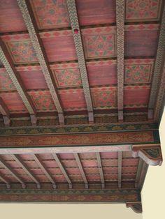 Geometrics useful for secondaries. Decor, Floor Ceiling, Wall, Beautiful Wall, Arizona Living, Painted Beams, Painted Ceiling, Stencils, Decorative Painting