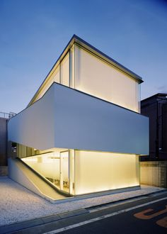 Architecture, Exterior Lighting White Small Modern House With White Pebble Stone: The Terrific Home Design by Curiosity and Milligram Studio Minimalist Architecture, Space Architecture, Residential Architecture, Amazing Architecture, Contemporary Architecture, Minimalist Interior, Pavilion Architecture, Minimalist Apartment, Minimalist House