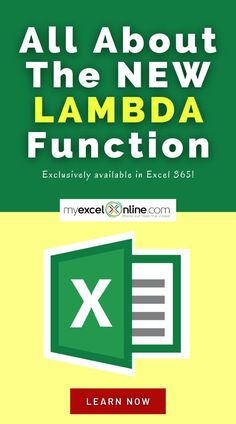 In this FREE Excel tutorial you will find the HOTTEST new Excel LAMBDA Formula! Learn to create Custom Formulas without the need of Excel Macros! This Excel tutorial is from #MyExcelOnline | Microsoft Excel Formula Tips   Tutorials | #Excel #MSExcel #MicrosoftExcel #ExcelFormulas #ExcelforBeginners #ExcelTips