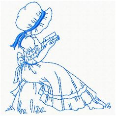 OregonPatchWorks.com - Sets - Sunbonnet Ladies  So much for thinking blue work might look better.