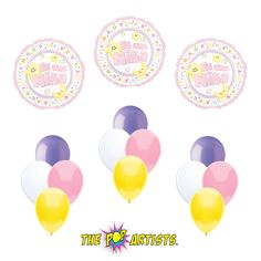 Es Una Nina Bouquet | Baby Girl Balloons | Lavender Lt Pink Yellow White Latex Balloons | Centerpieces | Party Decorations | Party Supplies by ThePopArtists on Etsy