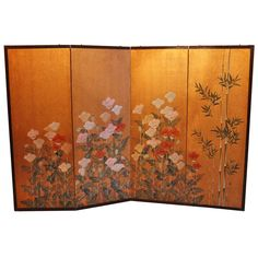Japanese Antique Hand Painted Screen | From a unique collection of antique and modern paintings and screens at http://www.1stdibs.com/furniture/asian-art-furniture/paintings-screens/