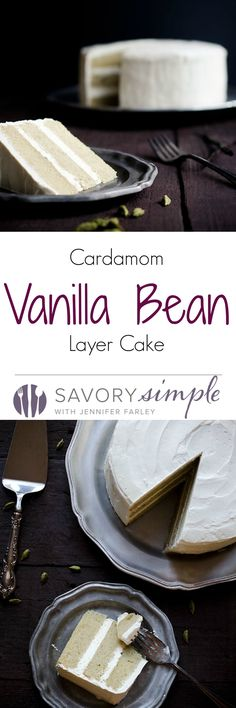 Cardamom Vanilla Bean Layer Cake - a fragrant, sweet and buttery cake that's speckled with beautiful vanilla beans!