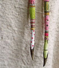 Lollie Legs pink green and yellow closeup Craft Stick Crafts, Wood Crafts, Diy Crafts, Spirit Sticks, Twig Art, Painted Branches, Stick Art, Driftwood Art, Driftwood Jewelry
