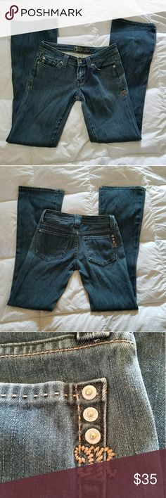 """Miss me jeans size 26 stretch """"Montreal"""" color Excellent pre-owned condition from clean non-smoking home. Size 26. Color is Montreal. One very small negligible spot near right rear pocket. Has been there since purchased, see last picture. Please review all photos and if you have questions don't hesitate to ask :) Miss Me Jeans Boot Cut"""