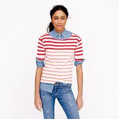 Lightweight terry tee in stripe