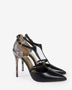 Ted Baker footwear collection, Exotic-effect leather, Cut-out detail, Stiletto heel, Heel height: 11cm, Pointed toe, Buckle fastening, Leather sole
