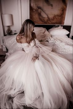 Taking Over Palma De Mallorca The wedding gown is the jewel in our newest couture collection This dramatic ballerina ballgown is made of pleated silk tulle in shades of ivory and blush with embroidered embellishment detailing. Photo: by Tali Photography Wedding Dress Empire, Wedding Dress Trends, Dream Wedding Dresses, Bridal Dresses, Flower Girl Dresses, Dramatic Wedding Dresses, Formal Gowns, Tulle Wedding, Boho Wedding