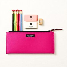 'reading, writing & 'rithmetic all just got a little more fun. a pink pencil case & rainbow-hued pencils will do that, ya know.