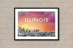 ILLINOIS - Travel Poster - Illinois Poster - City Poster - Sunset - City Sunset - Wall Art - Travelling Art - Chicago - Home Decor - Artwork by ArtyPrintsBoutique on Etsy