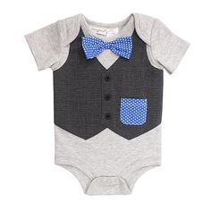 "Babyrageous Boys Grey Faux Vest with Bow Tie Short Sleeve Bodysuit - Babies R Us - Babies ""R"" Us"