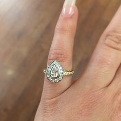 A little drop of #heaven!   This 18ct white and yellow gold #diamond #bespoke engagement ring features a #stunning #pearcut diamond and is finished with pavé set diamond detailing!  #beautiful #diamonds #engagementring #engaged #gold #luxury #design #instawed #diamondring #selinijewellery #beautiful #love