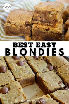 This is my favorite blondie recipe- so fudgy, chewy and gooey, with lots of carmely, buttery, brown sugar flavor. Customize yours with all sorts of mix-in ideas! Oh and did I mention it's made in one bowl and takes about 10 minutes to prep! #thefreshcooky #bestblondies #holidaydessert