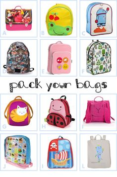 cutesy bags! Perfect for Peaches' first day at Big school