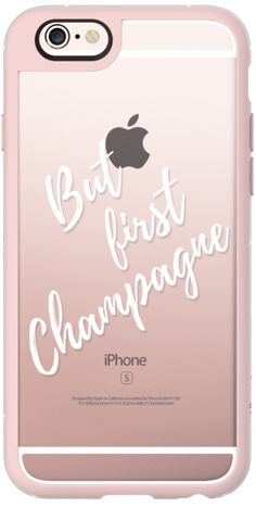Casetify iPhone 6s New Standard Case - But first champagne! /white typograpy clear case by Marta Olga Klara