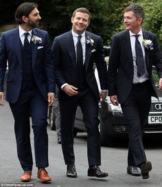 Preparations: Dermot was flanked by his best man and an usher as he prepared to become a married man