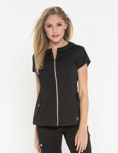 The Peter Pan Top in Black is a contemporary addition to women& medical scrub outfits. Shop Jaanuu for scrubs, lab coats and other medical apparel. Spa Uniform, Salon Uniform, Scrubs Outfit, Lab Coats, Medical Scrubs, Nurse Scrubs, Medical Uniforms, Womens Scrubs, Nursing Clothes