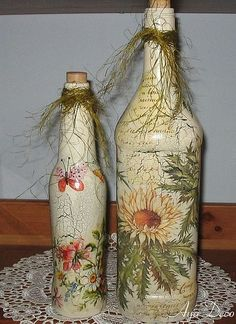 Decoupage bottles: