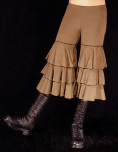 Tan/Olive Ruffle Capris, Yoga and Dance, Bloomers, Ruffles, Tribal, Bellydance, Exotic, Dance, Dark Fusion Boutique