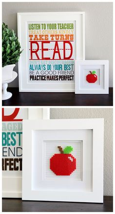 Perler Bead Apple Frame and Free Printable Classroom Art