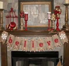 Christmas Banner BELIEVE Burlap & Red Webbing by ThrownTogether, $53.00