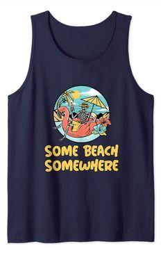 Amazon.com: Funny Chill Summer Top Skeleton Drinking on Beach Flamingo Tank Top