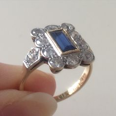 One of my all time favourites: and ring Pretty Rings, Vintage Love, Sapphire, Diamonds, Art Deco, Glamour, Engagement Rings, Jewelry, Enagement Rings